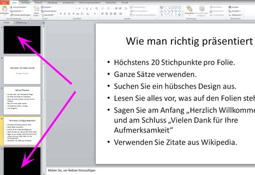 PowerPoint-Präsentation mit leerer Folie an Anfang/Schluss