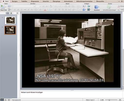 Powerpoint - Bild mit schwarzem Hintergrund