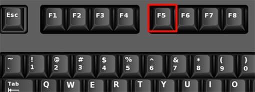 Ausschnitt einer Tastatur mit markierter F5-Taste