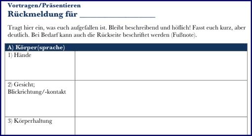 Ausschnitt: Rückmeldebogen für Körpersprache und Sprache beim Präsentieren