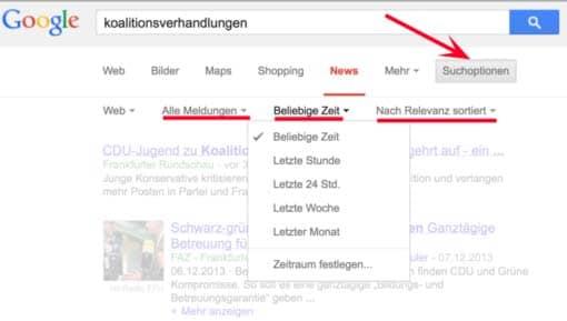 Screenshot: Suchoptionen bei der Google-Suche