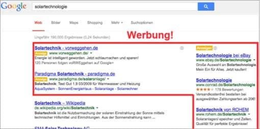 Screenshot: Werbung auf der Google-Suchergebnisseite