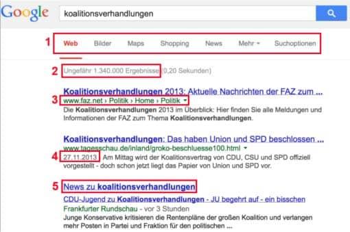 Screenshot: Elemente der Google-Suchergebnisseite