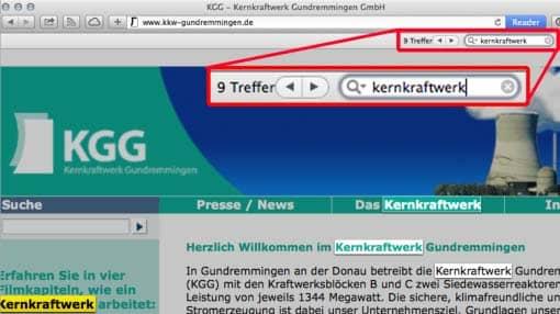 Screenshot: Webseite mit der Finden-Funktion des Browsers durchsuchen