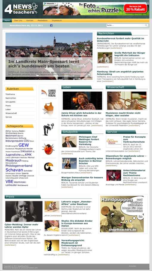 Screenshot: Website News4teachers, 22.11.2011 (Vorschaubild)