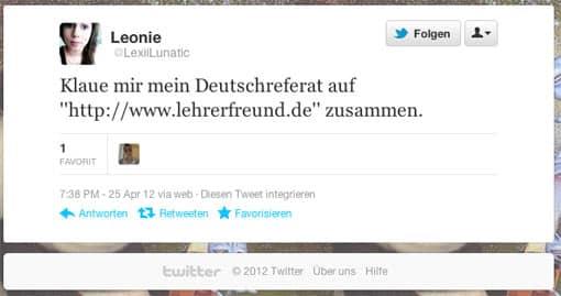 Tweet von @LexiiLunatic, 25.04.2012 - Deutschreferat 'zusammenklauen'
