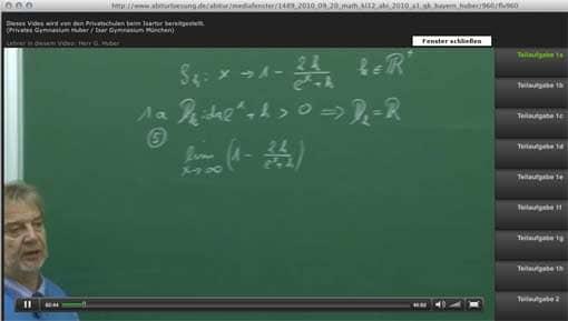 Screenshot: Matheabituraufgabe wird im Video erklärt