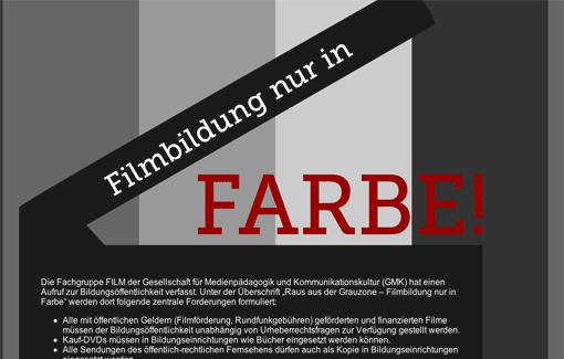 Screenshot: Website 'Filmbildung nur in Farbe' (Unterschriftenaktion gg. Urheberrechtsbeschränkungen bei Filmen aus öffentlichen Geldern)
