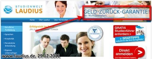 Screenshot: Studienwelt Laudius, Website (Header)