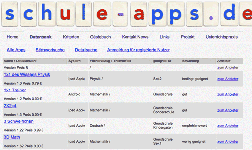 schule-apps.de: Datenbank (Screenshot)