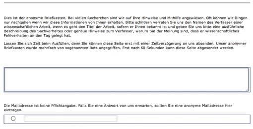 Screenshot: Anonymer Briefkasten auf VroniPlag