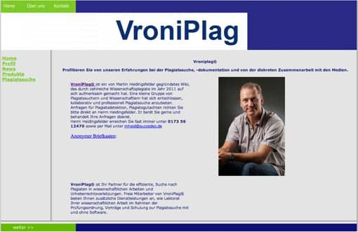VroniPlag-Website: Screenshot
