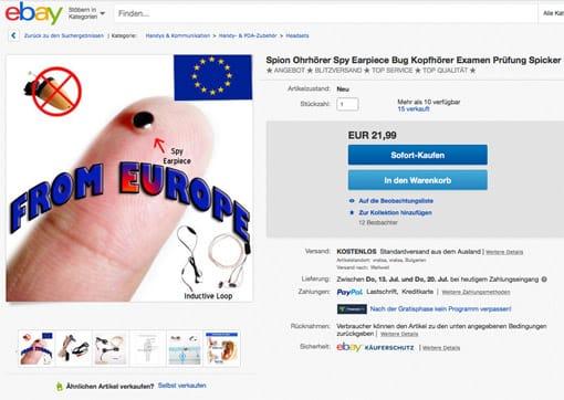 ebay: Spion-Ohrhörer zum Spicken (Vorschaubild)