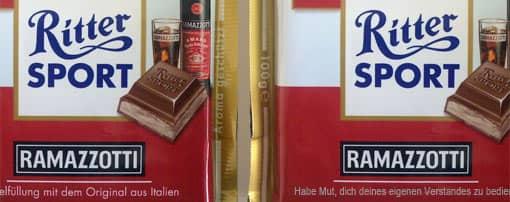 Zum Spicker umfunktionierte Schokoladentafel