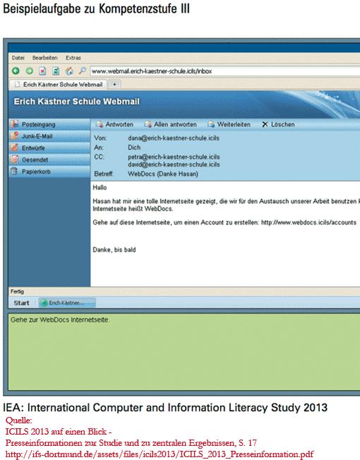 ICILS 2013, Beispielaufgabe Kompetenzstufe III (Webdocs)