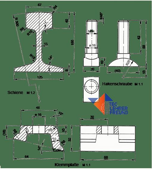 Bild Schienenbauteile Klemmplatte, Rippenplatte und Hakenschraube