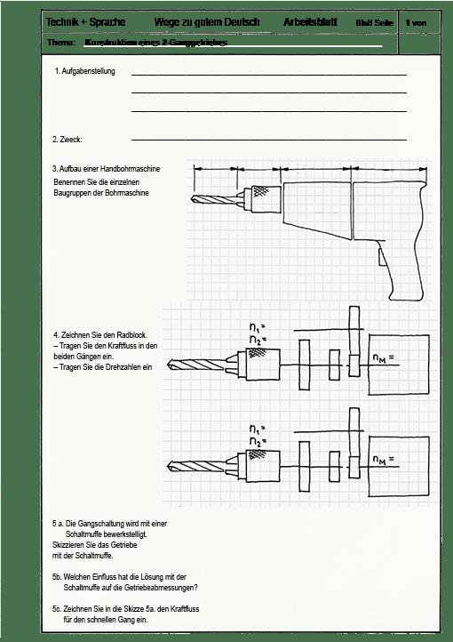 Deutsch im technischen Unterricht: Konstruktion eines 2-Gang ...