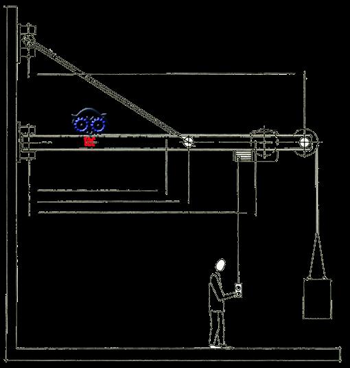 Wandkran Zeichnung für Arbeitsblatt
