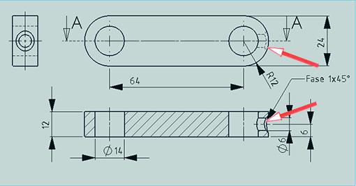 2D-CAD-Zeichnung mit Problemen in der Durchdringungsdarstellung