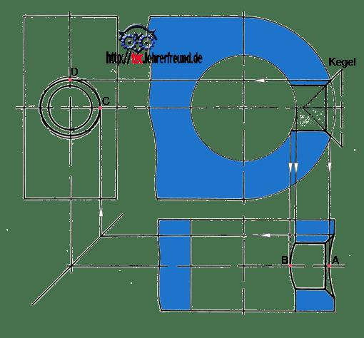 2D-CAD-Zeichnung mit Problemen in der Durchdringungsdarstellung: Detail