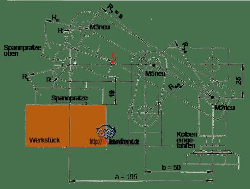 Zeichnung Positionen des Spannhebels und der Spannpratze