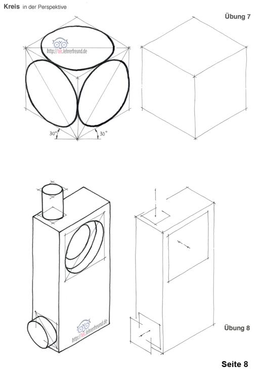 Kreise in Würfeln und Prismen