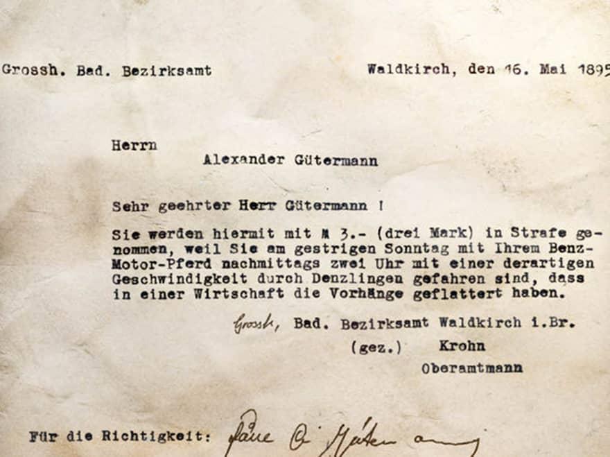 Bild Strafzettel 1895 für Alexander Gütermann