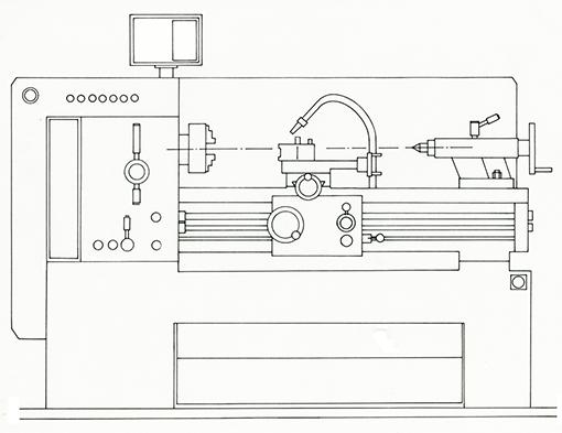 Drehmaschine als Vorlage für Arbeitsblatt