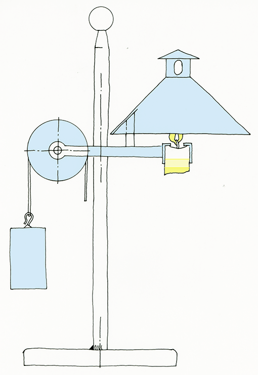 Kerzenlampe als Freihandzeichnung