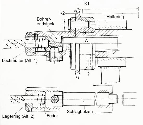Eine Lehrerfreund-Freihandskizze zu Details der Schlagbohrmaschine