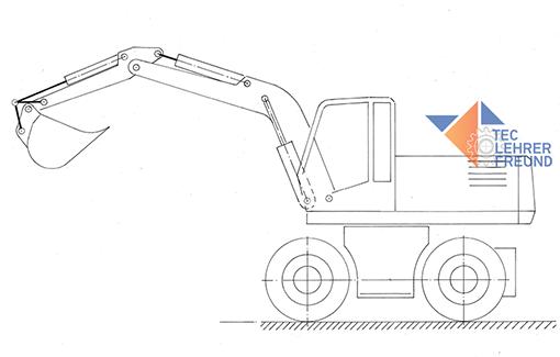 Radbagger - Zeichnung