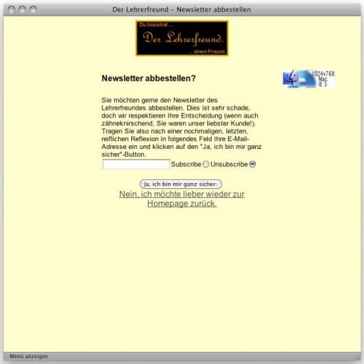 Lehrerfreund v1 (2000): Newsletter abbestellen