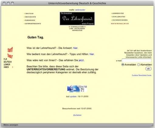 Lehrerfreund v2 (2000/2001): Übersichtsseite, beiger Hintergrund