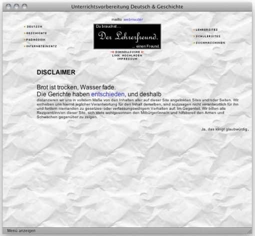 Lehrerfreund v2 (2000/2001): Disclaimer, Papierhintergrund