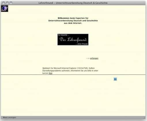 Lehrerfreund v3 (2001), Splash-Page