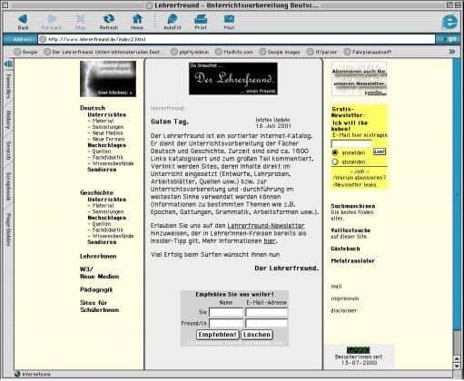Lehrerfreund v3 (2001), Startseite