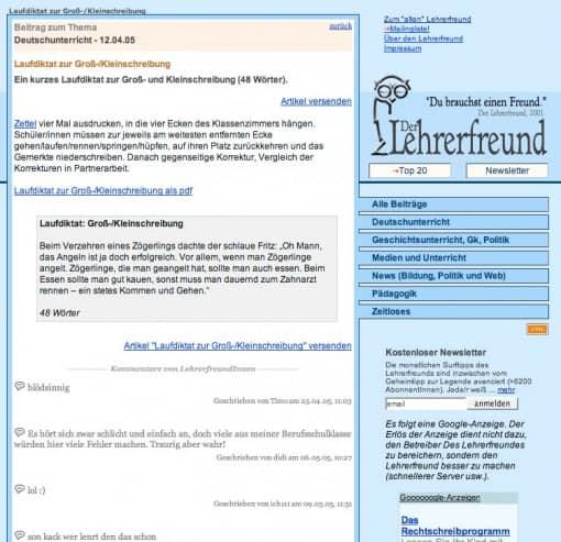 Lehrerfreund v5 (2004-2005), Einzelseite