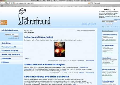 Lehrerfreund v6 (2005-2011), Übersichtsseite