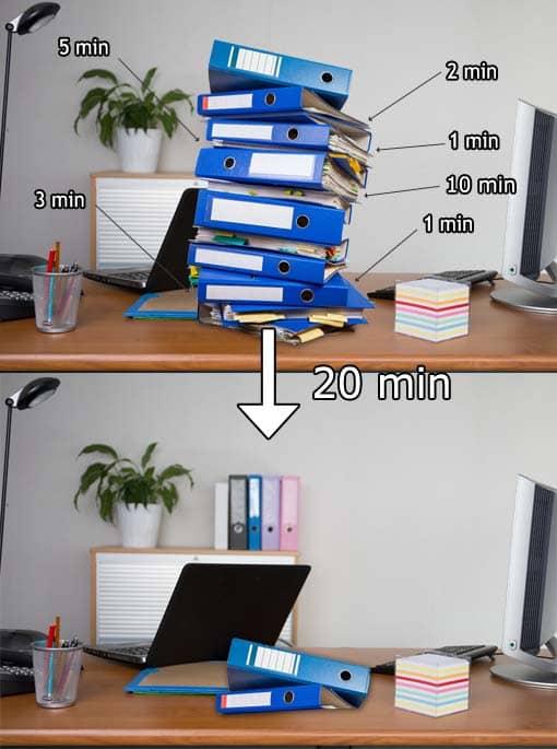 Stressigen Arbeitsstapel auf dem Schreibtisch minimieren
