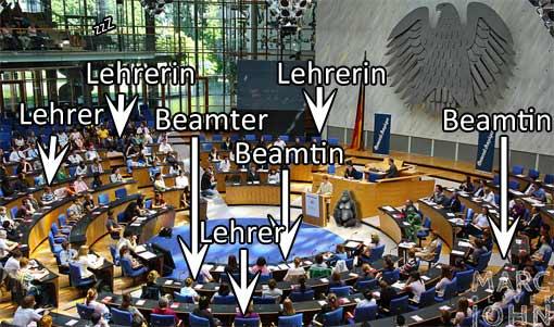 Bundestag, voll mit Lehrern