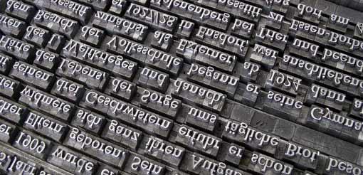 Buchstaben-Bleisatz