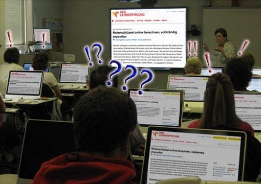 Computerraum, wo alle Schüler ein Fragezeichen überm Kopf haben