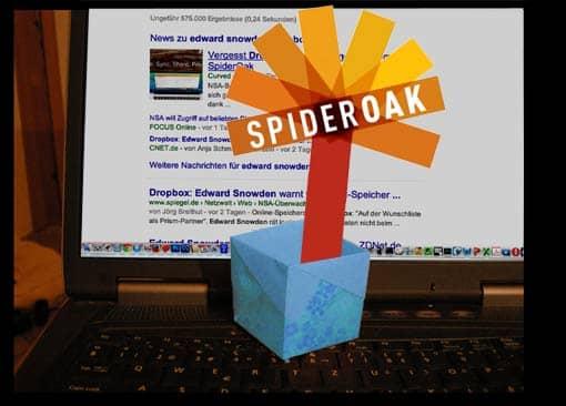 Eine SpiderOak-Blume wächst aus einer Dropbox