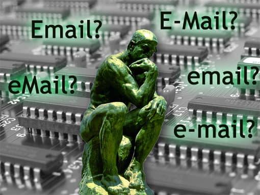 Denker denkt über Schreibweise von E-Mail nach