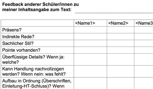 feedbacktabelle zur inhaltsangabe - Stellungnahme Einleitung Beispiel