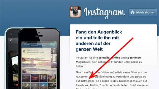 Ausschnitt: Homepage von Instagram mit Rechtschreibfehler
