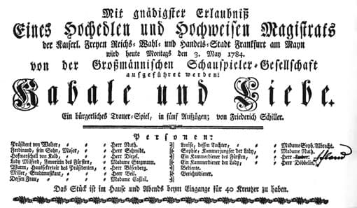 Kabale und Liebe - Theaterzettel von 1784