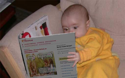 Kind liest Lehrerfreund-Newsletter