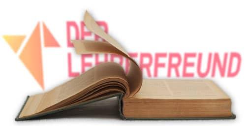 Lehrerfreund-Logo hinter altem Buch