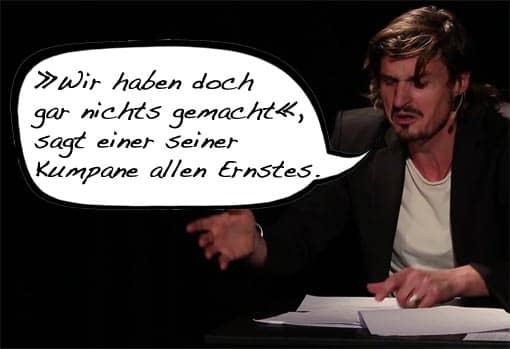 Ausschnitt: Marc Hofmann bei Kabarett mit Sprechblase